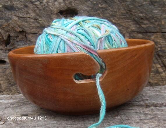 Wood  yarn bowl Cherry woodturning knitting crochet  woodworking wool skein sock alpaca