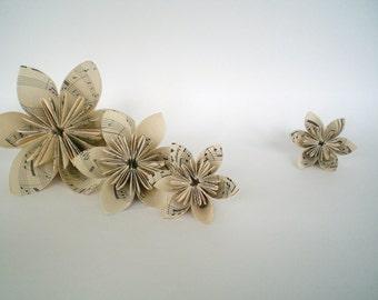"Vintage Sheet Music Paper Origami Flower 6""- Kusudama"