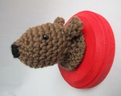 Crochet/Amigurumi Mounted Brown Bear Head