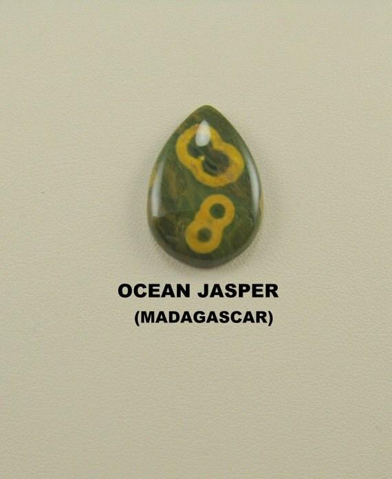 Very Good Ocean Jasper Pear Shaped Designer Cabochon.