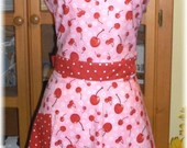 The Flirty Vintage Inspired Robert Kaufman Confections Cherry Full Apron
