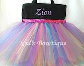 Black Canvas Rainbow Fairy Sequins Monogrammed Tutu Tote Bag - Personalized Tutu Bag