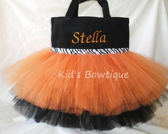Personalized Halloween trick or treat bag - Monogrammed Orange and Black Zebra Ribbon Trim Tutu Tote Bag