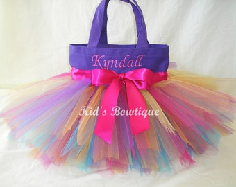Rainbow Fairy Monogrammed  Tutu Tote Bag - Personalized Tutu Bag -Unique First Birthday Tutu Gift