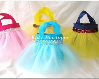 4 Tutu Party Gift Bags for a Disney Princess Themed Birthday Party - Princess Toddler Tutu Bags