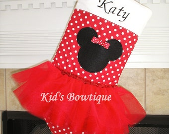 Personalized Christmas Stocking -  Monogrammed Red Holiday Stocking - for a Minnie fan