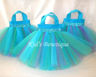 Set of 10 Colorful Splash Party Favor Tutu Bags - Party Decorations