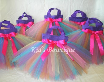 Set of 4 Rainbow Fairy Party Favor Tutu Bags - Birthday Party Treat Bags