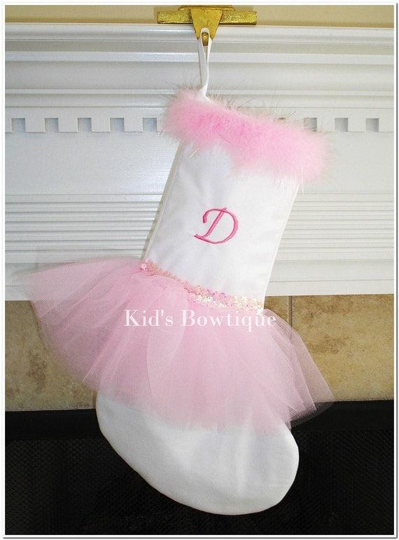 Pink White Ballerina Tutu Personalized Christmas Stocking -  Unique Personalized Stocking - Monogrammed Christmas Stocking