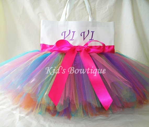 White Canvas Rainbow Fairy Monogrammed Tutu Tote Bag - Personalized Tutu Bag