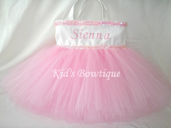 Monogrammed Tutu Tote Bag with Double Pink Sequins Trim and Pink Tutu - Dance Tutu Tote