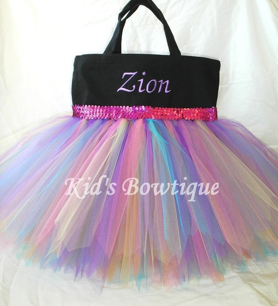 Black Canvas Rainbow Fairy Sequins Monogrammed Tutu Tote Bag - Personalized Tutu Bag