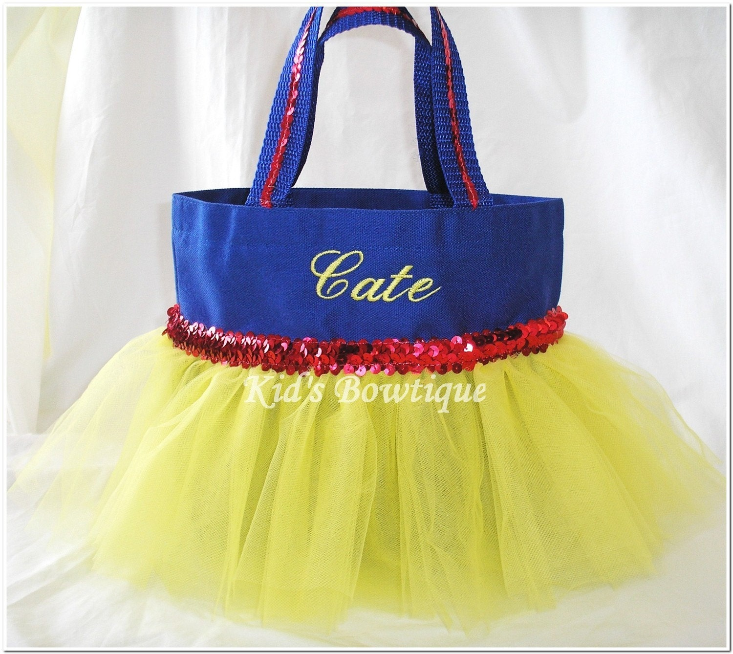 snow white tutu personalized bag bag monogrammed