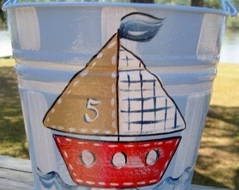 Hand Painted Personalized Metal Bucket- Nautical Design