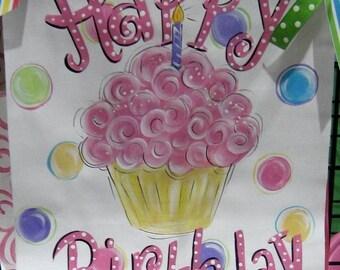 Birthday Banner Hand Painted Cupcake
