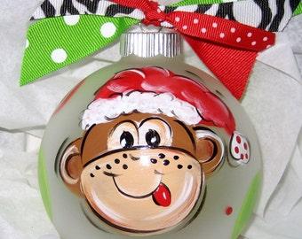 Personalized Christmas Ornament  Santa Monkey