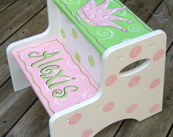 Hand Painted Girls Step Stool
