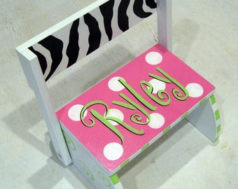 Girls Zebra and Hot Pink Step Stool