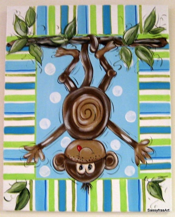 Items Similar To Hand Painted Monkey Painting Children S