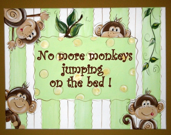 Hand painted Canvas Wall Art No More Monkeys Jumping on the Bed