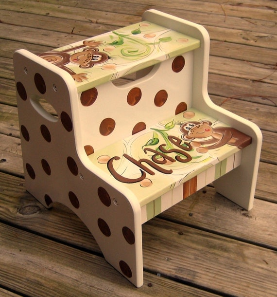 Monkey Hand Painted Childs Step Stool