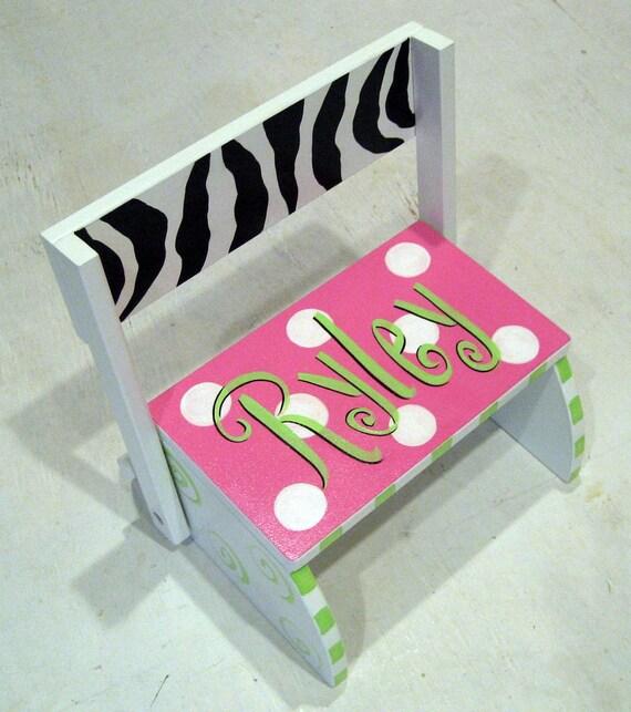 Girls Zebra And Hot Pink Step Stool