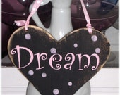 Shabby Chic Cottage Black And Pink Heart Dream Wood Sign Custom
