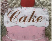 Cake Pink Shabby Cottage Vintage Inspired Wood Sign Custom Bakery Pastry