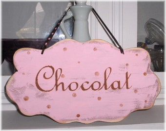 Shabby Cottage Chocolat Pink With Brown Polka Dots Wood Sign Custom