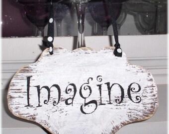 Imagine Shabby Chic Cottage White Wood Sign Custom