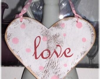 Shabby Cottage Valentine White Heart Love Wood Sign,Custom Sign
