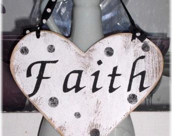Faith Heart Shabby Chic White And Black Wood Sign Custom