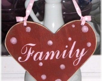 Heart Red Sign Family Shabby Cottage Wood Custom
