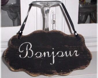 Bonjour Shabby Cottage Wall Decoration Black Wood Sign Custom Sign