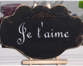 Je taime French Black Shabby Cottage Wedding Anniversary Wood Sign Custom