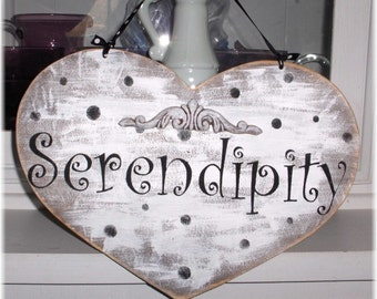 Serendipity White Heart With Black Polka Dots Shabby Cottage Wood Sign Custom