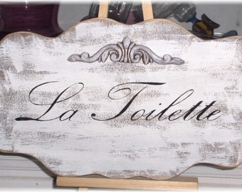La Toilette Shabby Cottage White French Wood Sign Custom