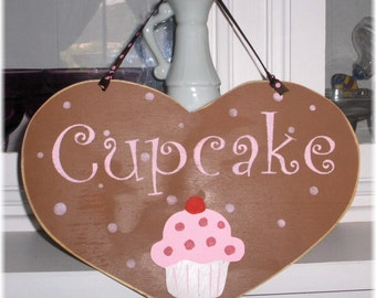 Shabby Cottage Heart Brown Wood Cupcake Sign Custom Sign