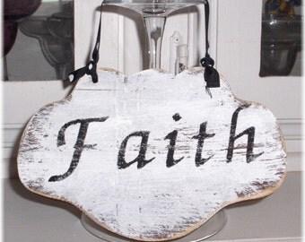 Faith Shabby Cottage White Wood Sign