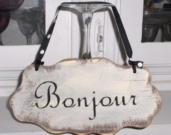 Bonjour Shabby Cottage Wall Decoration White Wood Sign Custom