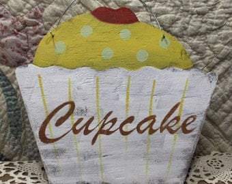 Cupcake Shabby Cottage Yellow Wood Sign Custom Kitchen Kids Room Birthday Photo Prop