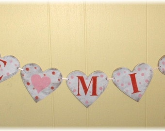 Valentine Banner Garland  Be Mine Hearts Shabby Chic Red And Pink Custom Colors Wood Sign