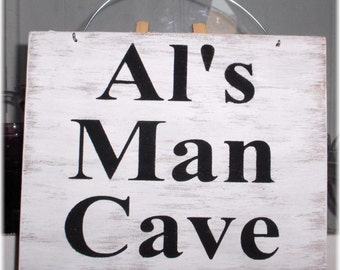 Man Cave Personalized Name White Wood Custom Sign Fathers Day Gift Manly Male Hubby Birthday Gift