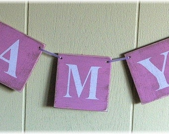Personalized Name Phrase Banner Garland Shabby Chic Wedding Birthday  Business  4 x 4 Wood Tiles Custom Sign
