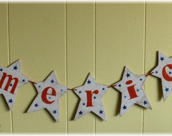 4th Of July America Banner Garland Stars Shabby Chic Custom Wood Sign Americana Holiday