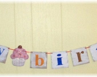 Happy Birthday Banner Garland Cupcake Shabby Chic Multi Color Custom Wood Sign