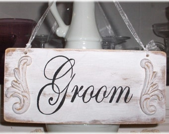 Wedding Signs Bride & Groom Chair Hangers Set  of 2 Wood White Custom Shabby Chic