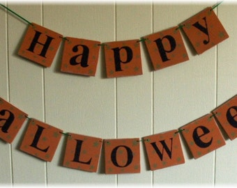 Happy Halloween Orange Wood Banner Garland Holiday Decoration 4 x 4 Tiles