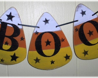 Halloween BOO Banner Candy Corns Garland Wood Holiday Decoration Custom