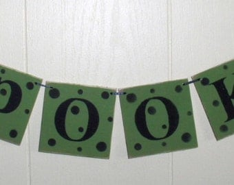 Spooky Banner Halloween Bright Green Wood Garland Holiday Decoration 4 x 4 Tiles Custom